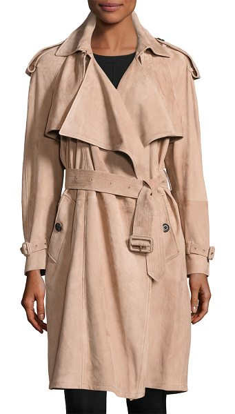 "Burberry Sanbridge Suede Wrap Trench Coat in pink - Burberry ""Sanbridge"" draped suede wrap coat. Approx...."