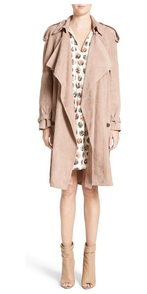 Burberry sanbridges suede wrap trench in pale antique rose - Softly draped sleeves and an antique-rose-hued suede...