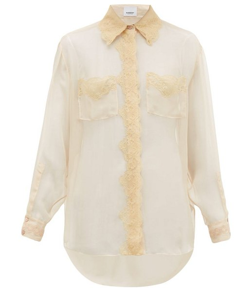 Burberry shelly lace trimmed mulberry silk chiffon blouse in light pink