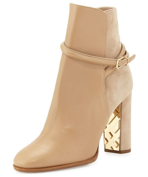 "Burberry Shola Leather & Suede Ankle Boot in light nude - Burberry leather and suede ankle boot. 3.5"" covered heel..."