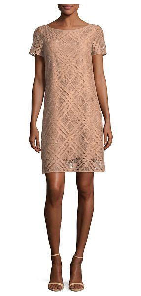BURBERRY Short-Sleeve Check Lace Dress - Burberry lace dress with plaid check overlay. Bateau...