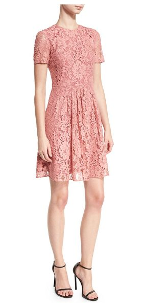 Burberry Short-Sleeve Lace Fit-and-Flare Dress in antique rose - Burberry floral lace dress. Jewel neckline. Short...