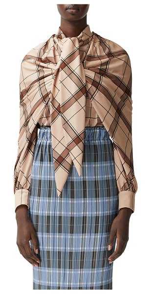Burberry shoulder detail plaid blouse in pink