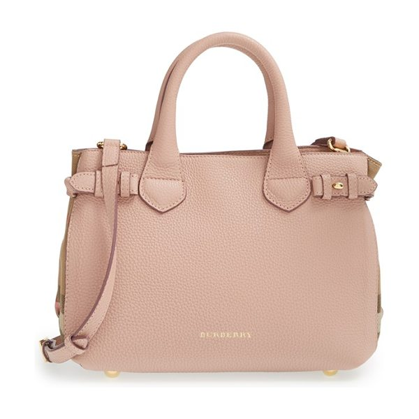 BURBERRY 'small banner' house check leather tote in nude blush - Side buckle fastenings add a bit of equestrian-inspired...
