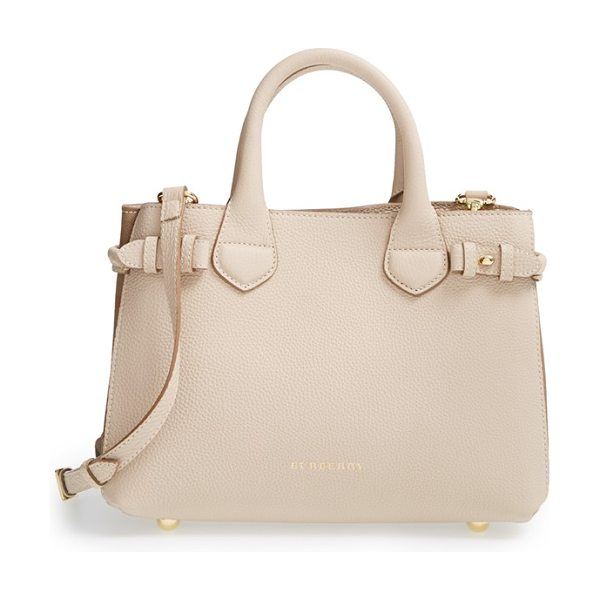 Burberry Small banner house check leather tote in stone - Side buckle fastenings add a bit of equestrian-inspired...