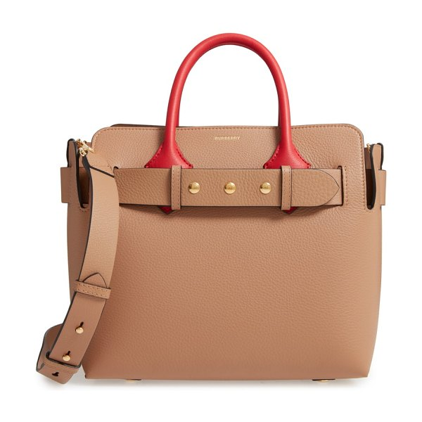 Burberry small belt triple stud leather satchel in brown