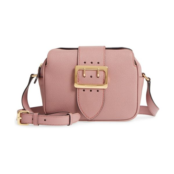 Burberry small buckle leather crossbody bag in dusty pink