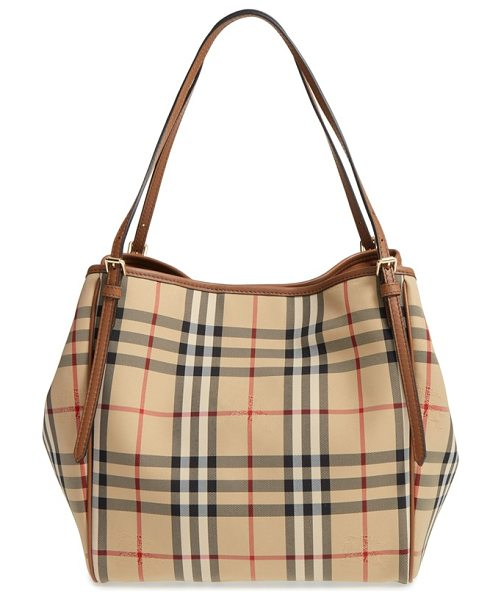 Burberry small canter check & leather tote in honey/ tan - A Burberry knight is subtly embossed over the iconic...