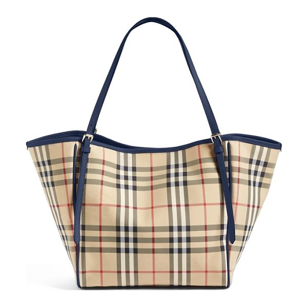 Burberry small canter horseferry check tote in honey/ brilliant navy