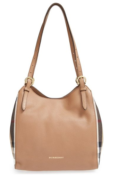 BURBERRY Small canterbury house check & leather tote - Side panels in Burberry's House check add extra flair to...
