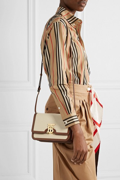 Burberry small canvas and leather shoulder bag in cream