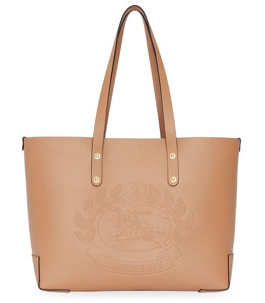 Burberry small crest-embossed tote in light camel - Supple tote elevated by oversized Burberry crest...