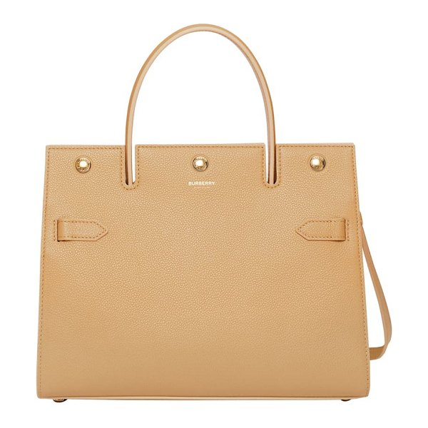 Burberry small title leather tote in beige