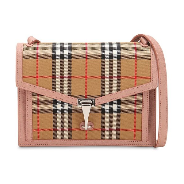 Burberry Small macken checked leather bag in beige/pink - Height: 18cm Width: 23.5cm Depth: 7cm. Adjustable...