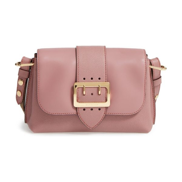 Burberry small medley leather shoulder bag in dusty pink - A gleaming goldtone buckle puts the polish on a...