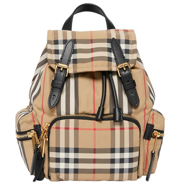 Burberry small vintage check & leather rucksack in beige