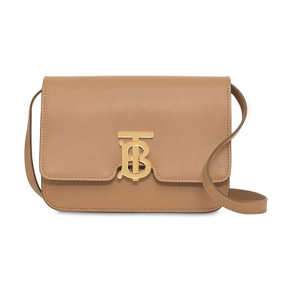 Burberry Small tb leather shoulder bag in light camel