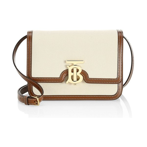 Burberry small tb canvas & leather crossbody bag in malt brown