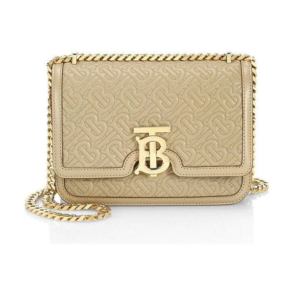 Burberry small tb monogram quilted leather shoulder bag in honey