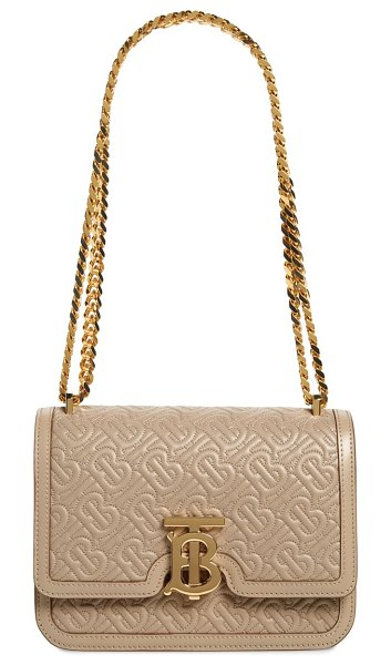 Burberry small tb quilted monogram lambskin bag in beige