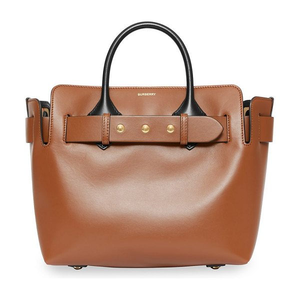 Burberry small triple stud leather belt tote in malt brown