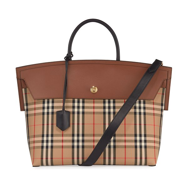 Burberry Society Vintage Check Top Handle Bag in brown pattern