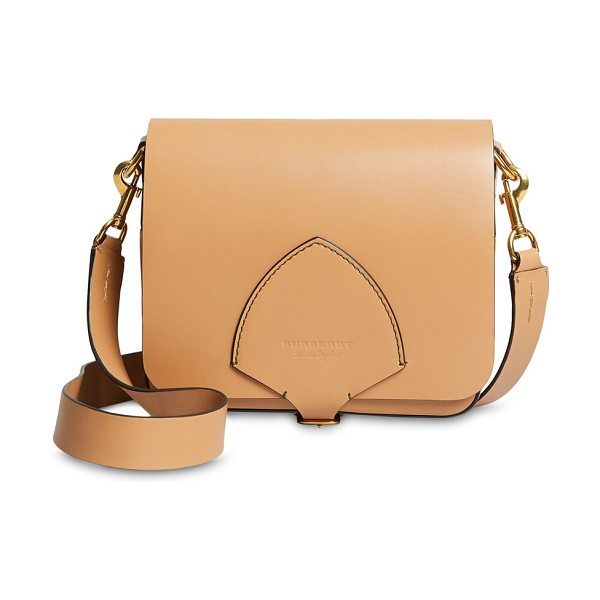 Burberry square leather satchel in camel - Elegant satchel constructed of leather material....