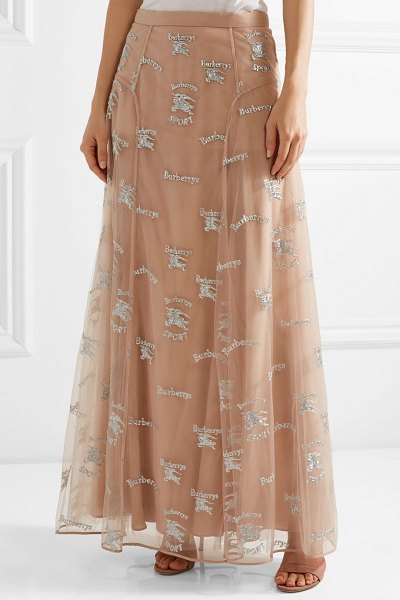 Burberry sybilla embroidered tulle maxi skirt in blush - Burberry's 'Sybilla' skirt is embroidered with the...