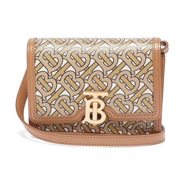 Burberry tb monogram-print leather cross-body bag in beige multi