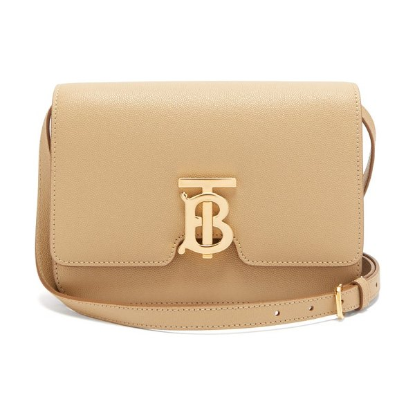 Burberry tb monogram small grained-leather cross-body bag in beige