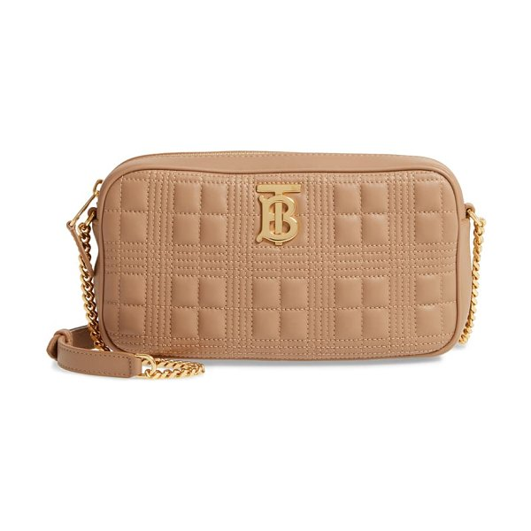 Burberry tb quilted check leather camera crossbody bag in beige