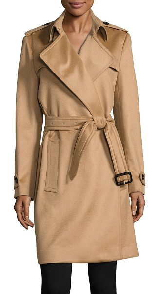 Burberry tempsford cashmere wrap trenchcoat in camel - Elegant wrap coat of remarkably luxe cashmere. Wrao...