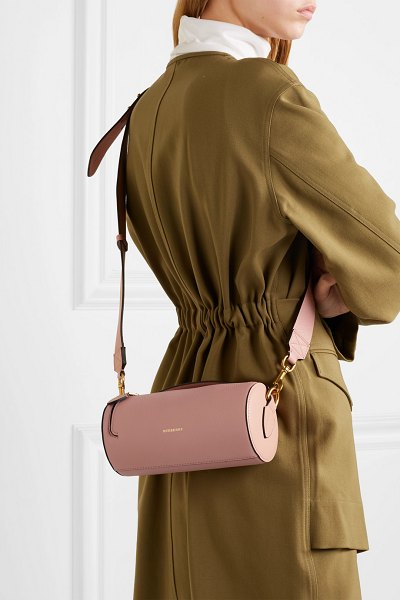 Burberry textured-leather shoulder bag in blush - Burberry's mini bag has a sleek cylindrical shape that...