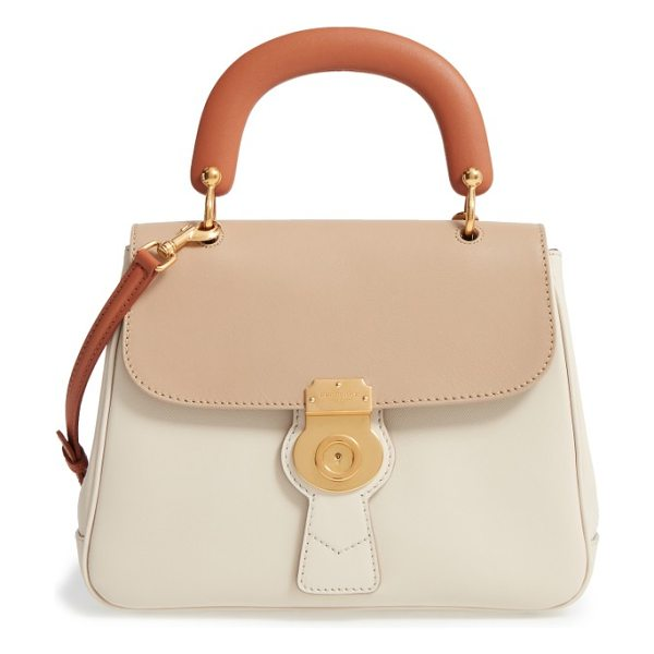 Burberry top handle tote in limestone/honey/toffee - Chic color blocking adds contemporary elegance to a...