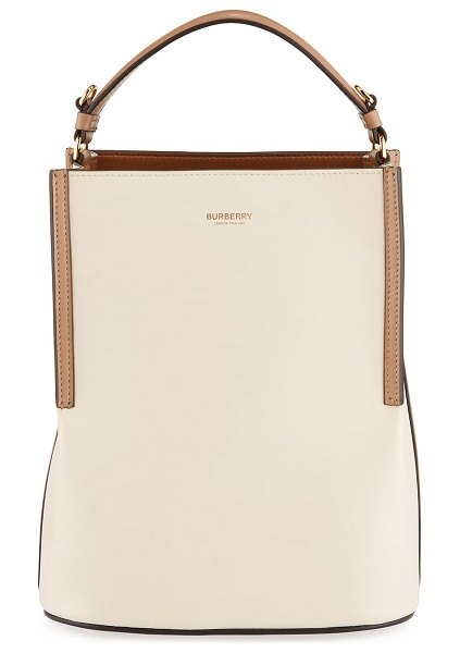 Burberry Two-Tone Leather Bucket Bag in light beige