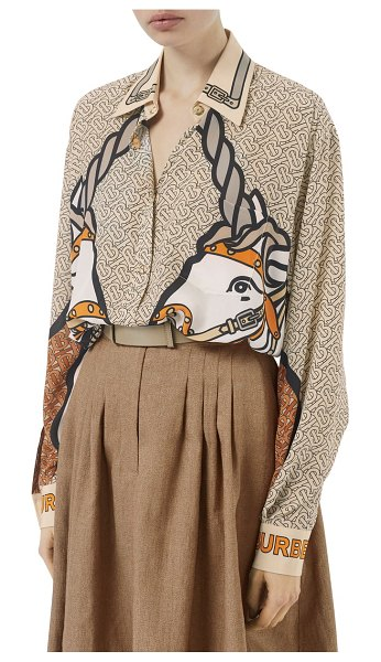 Burberry unicorn & tb monogram print silk shirt in beige