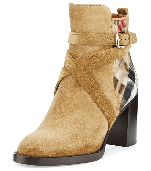 Burberry Vaughan Check & Suede 70mm Bootie in sandstone - Burberry suede bootie with House check cotton panels....