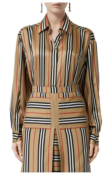 Burberry Vertical check printed silk twill shirt in archive beige