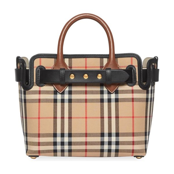 Burberry baby triple stud vintage check belt tote in neutral