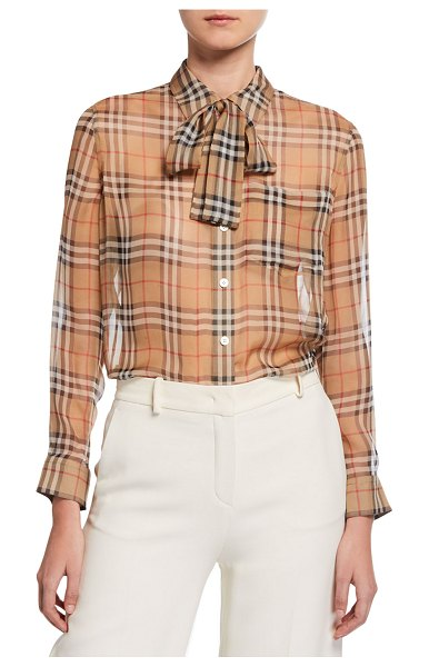 Burberry Vintage Check Chiffon Tie-Neck Shirt in beige
