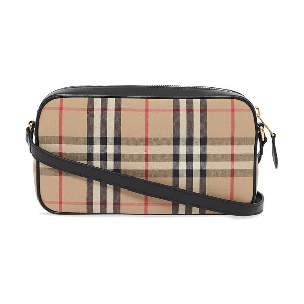 Burberry vintage-check leather-trim canvas cross-body bag in beige multi