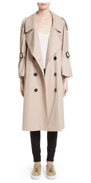 Burberry wakestone trench coat in stone - Flared, cropped sleeves, elongated epaulets and...