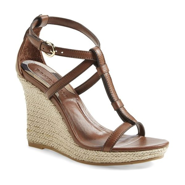 Burberry wedland espadrille wedge sandal in tan - A check-print heel counter lends a signature touch to a...