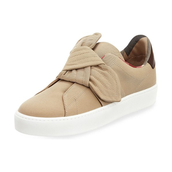 "Burberry Westford Fabric Knotted Sneaker in honey - Burberry stitched fabric sneaker. 1.3"" flat heel with..."