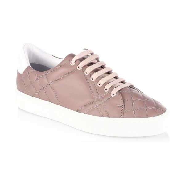 Burberry westford quilted leather check sneakers in ivory pink - Quilted vamp highlights these leather sneaker. Grain...