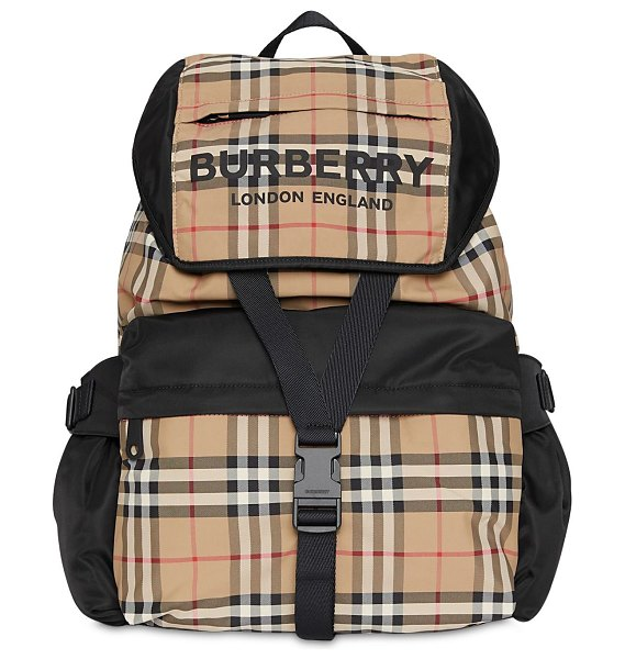 Burberry Large wilfin check nylon backpack in archive beige