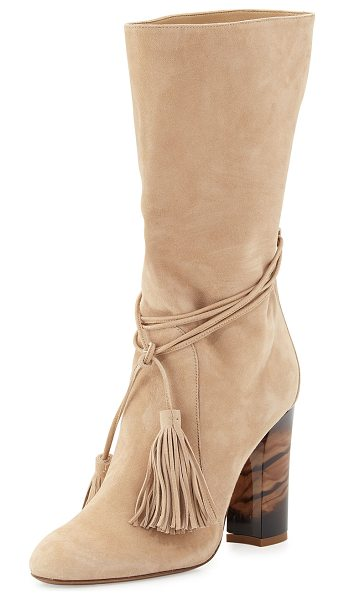 "Burberry Winningham Suede Tassel Boot in light nude - Burberry suede boot. 3.5"" acrylic heel. Round toe...."