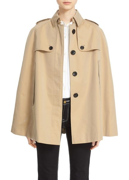 Burberry 'wolseley' cotton trench cape in honey - The timeless trench takes new shape as an oversized...