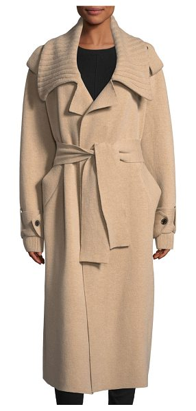 Burberry Wool-Blend Long Coat in camel - Burberry tailored coat with ribbed trim. Oversized...