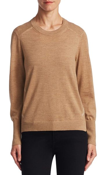Burberry roundneck wool pullover in camel - Elegant ribbed trim pullover. Roundneck. Long sleeves....